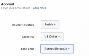 Izbor opcija za podesavanje naloga za reklamiranje na fejsbuku